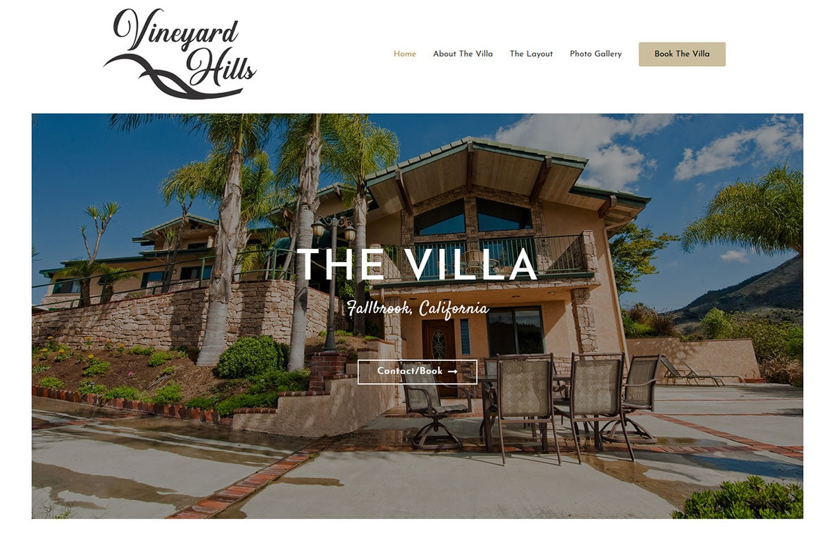 California web design and website development for a rental home Vineyard Hills Villa in FAllbrook, California